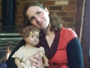 The author with the creepy doll